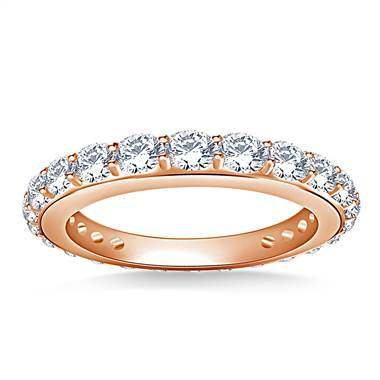 Round Diamond Adorned Eternity Ring in 18K Rose Gold (1.10 - 1.25 cttw.)