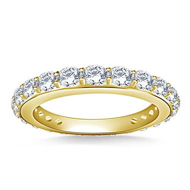 Round Diamond Adorned Eternity Ring in 18K Yellow Gold (1.10 - 1.25 cttw.)