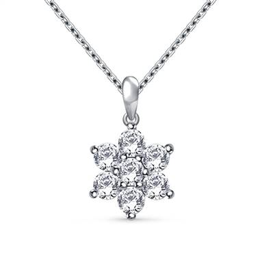 Round Diamond Flower Pendant in 14K White Gold (1/2 cttw.)