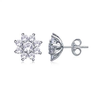 Round Diamond Flower Stud Earrings in 14K White Gold ( 3/4 cttw.)