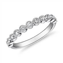 Round Dot Milgrain Diamond Ring in 14k White Gold (1/4 ct. tw.) | Blue Nile