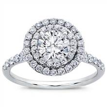 Round Double Halo Split Shank Diamond Ring | Adiamor