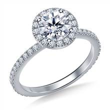 Round Halo Engagement Ring in 18K White Gold | B2C Jewels