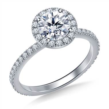 Round Halo Engagement Ring in 18K White Gold