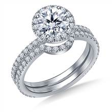 Round Halo Engagement Ring with Matching Band in Platinum | B2C Jewels