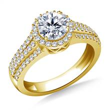 Round Halo Triple Band Diamond Accent Engagement Ring in 14K Yellow Gold | B2C Jewels