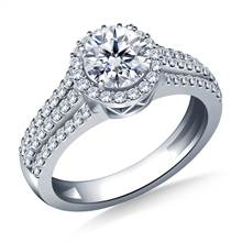 Round Halo Triple Band Diamond Accent Engagement Ring in 18K White Gold | B2C Jewels