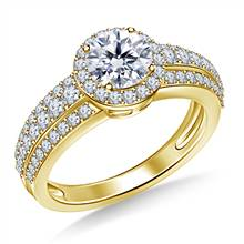 Round Halo Triple Band Diamond Engagement Ring in 18K Yellow Gold   B2C Jewels