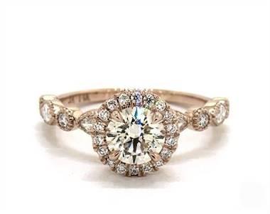 Round & Marquise Side-Stone Halo .44ctw Engagement Ring in 14K Rose Gold 1.8mm Width Band (Setting Price)