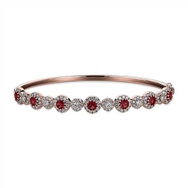 """Round Ruby and Diamond Bangle in 14k Rose Gold"""