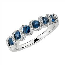 Round Sapphire and Diamond Band in 14k White Gold (2.8mm) | Blue Nile