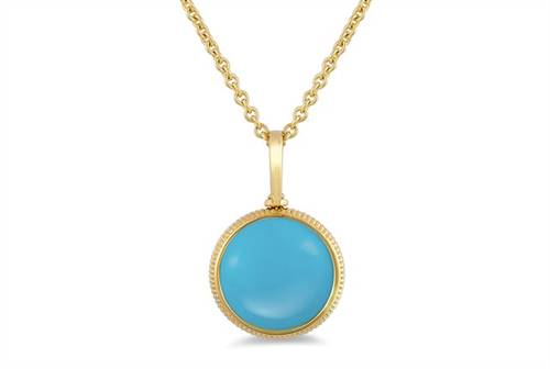 Round Turquoise Pendant Charm - in 18kt Yellow Gold