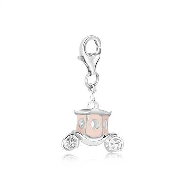 Royal Princess Carriage Charm with Enamel in Sterling Silver