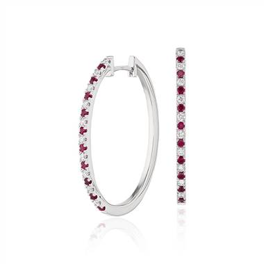 Ruby and Diamond Oval Hoop Earrings in 14k White Gold (1.4mm)
