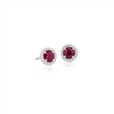 Ruby and Micropave Diamond Earrings in 18k White Gold (5mm)