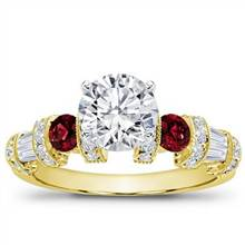 Ruby, Baguette, and Pave Setting | Adiamor