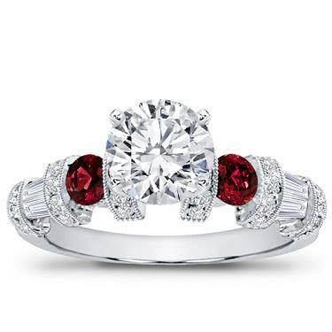 Ruby, Baguette, and Pave Setting