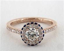 Sapphire Accented Halo Engagement Ring in 14K Rose Gold 4mm Width Band (Setting Price) | James Allen
