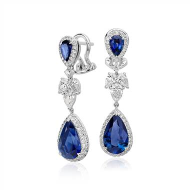 Sapphire and Diamond Drop Earrings in 18k White Gold (5.29 ct. tw. centers)