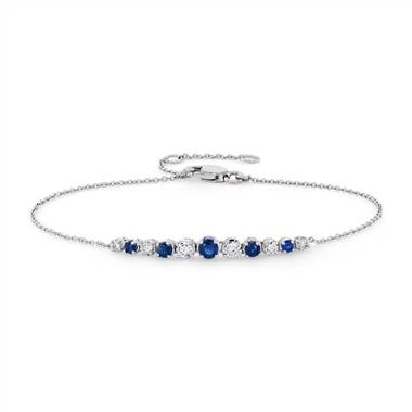 Sapphire and Diamond Graduated Curve Bracelet in 14k White Gold