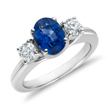 """Sapphire and Diamond Ring in 18k White Gold (8x6mm)"""
