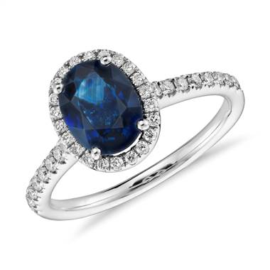 Sapphire and Micropave Diamond Halo Ring in 14k White Gold (8x6mm)
