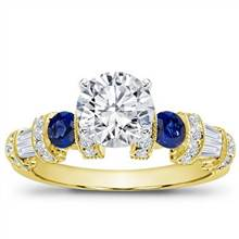 Sapphire, Baguette, and Pave Setting | Adiamor