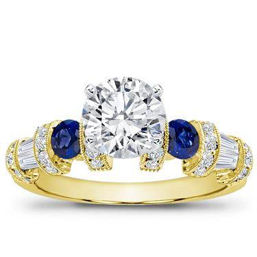 Sapphire, Baguette, and Pave Setting