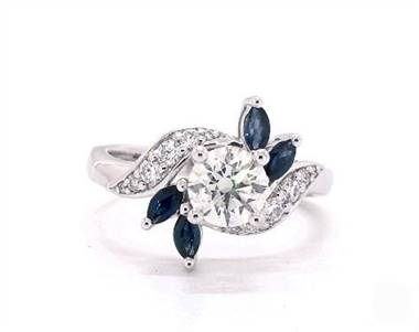 Sapphire Bird of Paradise & Diamond Engagement Ring in Platinum 4mm Width Band (Setting Price)