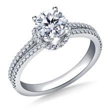 Scalloped Edge Split Shank Engagement Ring in 18K White Gold | B2C Jewels