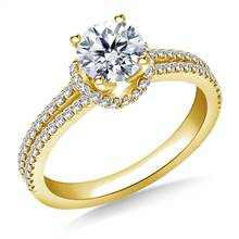 Scalloped Edge Split Shank Engagement Ring in 18K Yellow Gold | B2C Jewels