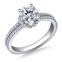 Scalloped Edge Split Shank Engagement Ring in Platinum | B2C Jewels