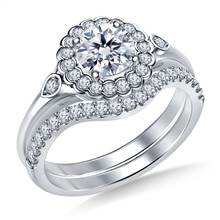 Scalloped Halo Floral Diamond Ring with Matching Band in 18K White Gold | B2C Jewels