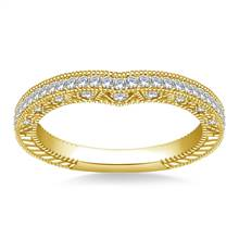 Sculpted Curved Matching Wedding Band in 14K Yellow Gold (1/3 cttw.) | B2C Jewels