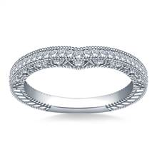 Sculpted Curved Matching Wedding Band in 18K White Gold (1/3 cttw.) | B2C Jewels