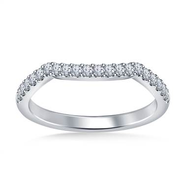 Scuplted Diamond Wedding Band Petite Design in 18K White Gold (1/4 cttw.)