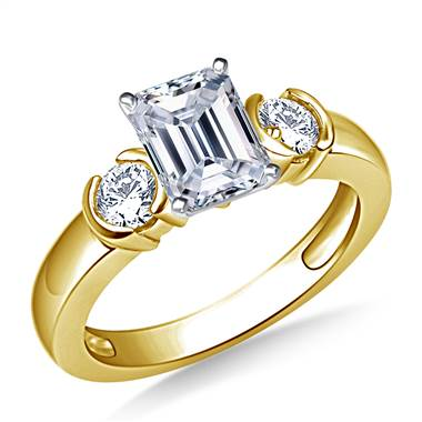 Semi Bezel Set diamond Engagement Ring in 14K Yellow Gold (3/8 cttw.)