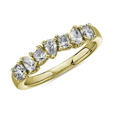 """Seven Stone Mixed Shape Fancy Diamond Ring in 14k Yellow Gold - I/SI2 (3/4 ct. tw.)"""