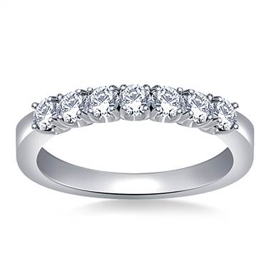 Seven Stone Prong Set Round Diamond Band in Platinum (3/4 cttw.)