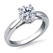 Side Halo Diamond Engagement Ring in 14K White Gold | B2C Jewels