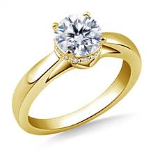 Side Halo Diamond Engagement Ring in 18K Yellow Gold   B2C Jewels