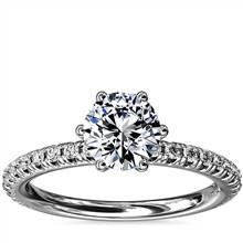 Six-Prong Petite Pave Diamond Engagement Ring in Platinum (1/4 ct. tw.) | Blue Nile