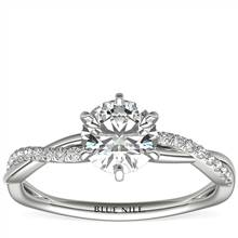 Six-Prong Petite Twist Diamond Engagement Ring in 14k White Gold (1/10 ct. tw.) | Blue Nile