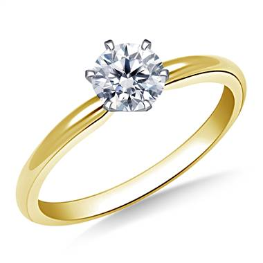Six Prong Pre-Set Round Diamond Solitaire Ring In 14K Yellow Gold