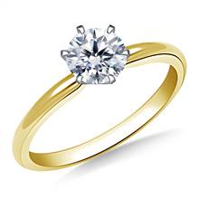 Six Prong Pre-Set Round Diamond Solitaire Ring In 14K Yellow Gold | B2C Jewels