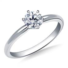 Six Prong Pre-Set Round Diamond Solitaire Ring In 18K White Gold | B2C Jewels