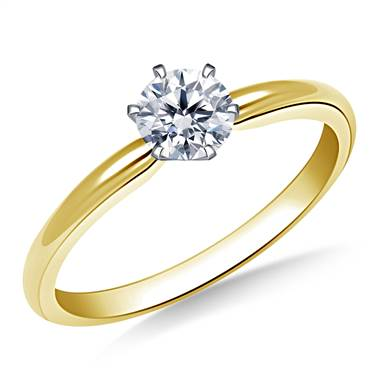 Six Prong Pre-Set Round Diamond Solitaire Ring In 18K Yellow Gold