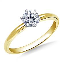 Six Prong Pre-Set Round Diamond Solitaire Ring In 18K Yellow Gold | B2C Jewels