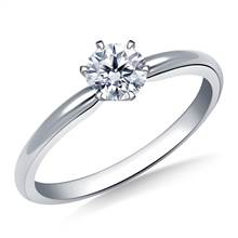 Six Prong Pre-Set Round Diamond Solitaire Ring In Platinum | B2C Jewels