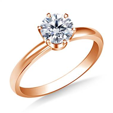 Six Prong Round Solitaire Diamond Engagement Ring in 14K Rose Gold